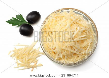 Grated Cheese With Olives Isolated On White Background. Top View