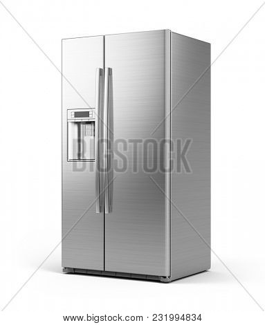 Modern side by side Stainless Steel Refrigerator . Fridge Freezer Isolated on a White Background. 3d rendering