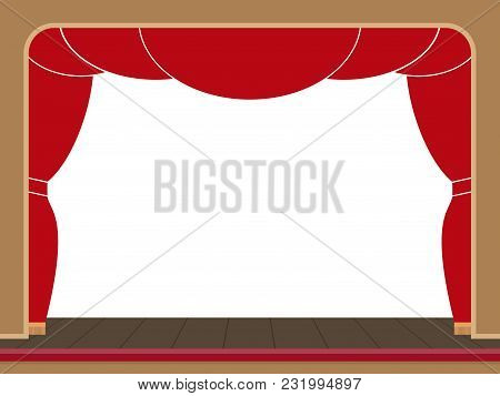 Theater Stage With Open Red Curtain. Coulisses. Vector Flat Illustration. Empty Space For Your Text.