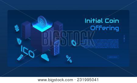 Isometric Ico Concept Banner. Modern Concept Of Initial Coin Offering Technology. Vector Illustratio