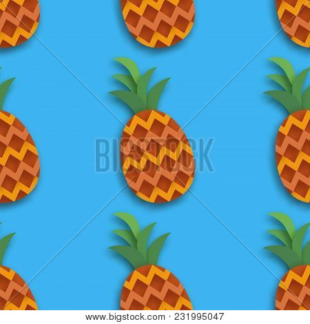 Pineappple Seamless Pattern. Ananas In Paper Cut Style. Origami Healthy Food On Blue. Summertime. Ve