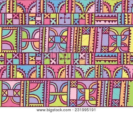 Colorful Geometric Abstract Seamless Pattern. African Fantasy Motif, Hand Drawn Geometric Shapes