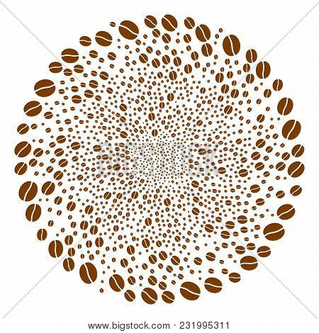 Coffee Bean Cycle Sphere. Element Centrifugal Explosion Organized From Scattered Coffee Bean Symbols