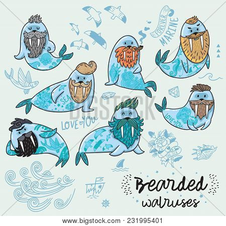Bearded Walruses Set. Vector Cartoon Characters Of Funny Walruses With Different Haircuts, Beards An