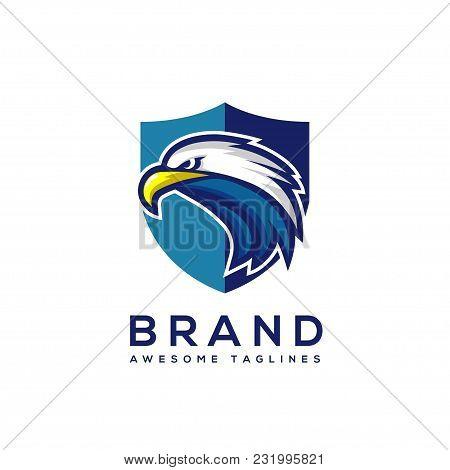 Eagle Head With Shield Logo Template, Hawk Mascot Graphic, Badge  Eagle Vector Logo, Eagle Technolog