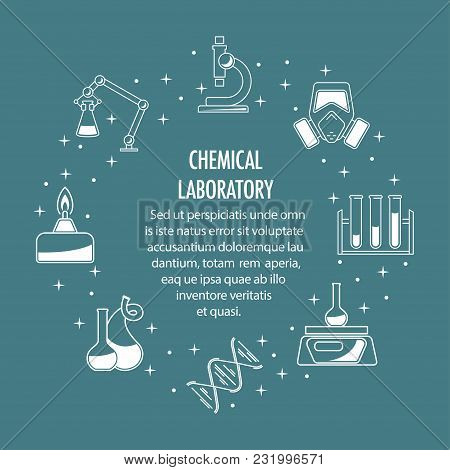 Chemical Laboratory Template. Science Icons Composition. Circle Banner With Place For Text. Linear I