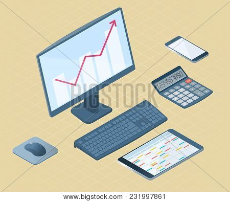 Flat Left Top View Isometric Illustration Of Office Desktop Electronic Equipment. Business And Schoo