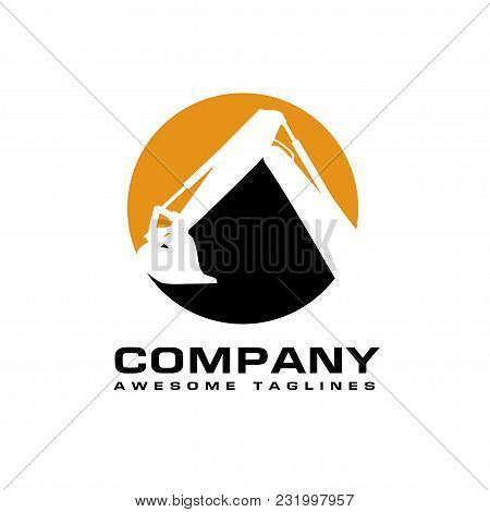 Excavators Construction Machinery Logo, Hydraulic Mining Excavator Vector Logo,. Heavy Construction