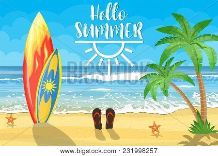 Sea And Sand Beach. Holiday Sea Summer With Colored Surfboard. Vector Illustration In Flat Style