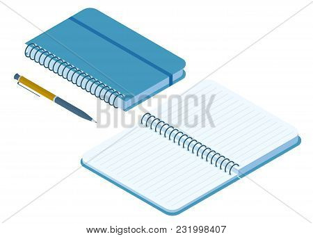 Flat Isometric Illustration Of Closed And Opened Notebook. Office And School Vector Concept: Paper N