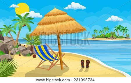 Landscape Of Wooden Chaise Lounge, Palm Tree On Beach. Umbrella . Sun With Clouds. Day In Tropical P