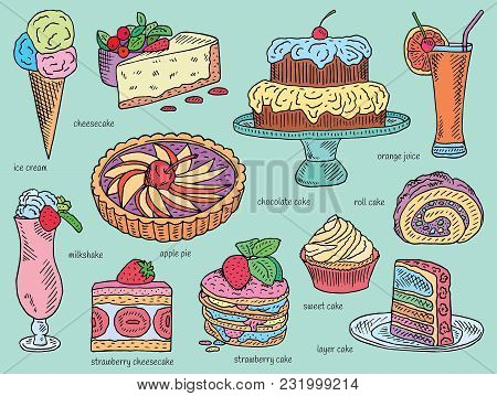Ice Cream, Chocolate, Layer, Strawberry, Roll, Sweet Cake, Apple Pie, Orange Juice, Cheesecake, Milk