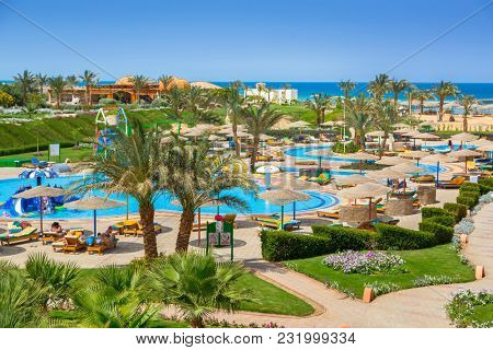 Hurghada, Egypt - April 15, 2013: Tropical resort Three Corners Sunny Beach in Hurghada. Three Corners is Belgian company with 11 hotels at Red Sea in Egypt and one in Budapest, Hungary.