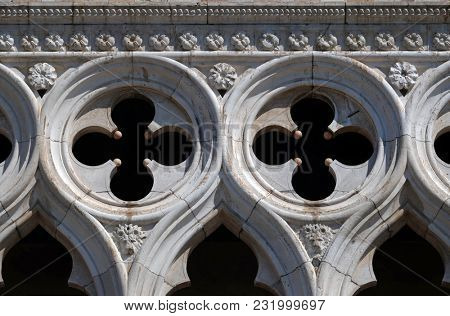 VENICE, ITALY - MAY 28: Facade detail of Doge`s Palace on Piazza San Marco, Venice, Italy. The palace was the residence of the Doge of Venice, UNESCO World Heritage Sites on May 28, 2017.