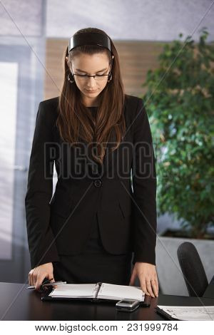 Business portrait - Young elegant businesswoman working at office desk.