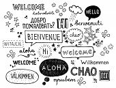 Fun hand-sketched illustration of word 'welcome' in different languages poster
