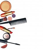 makeup brush and cosmetics, on a white background isolated, with clipping path poster