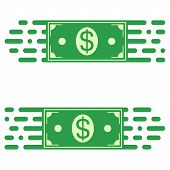 Logo fast transfer of money, a dollar bill in a quick motion. vector concept of rapid transfer of funds poster