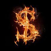 Fire dollar symbol poster