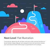 Next level concept, upgrade, way to success, reach goal, higher and better, motivation and improvement, long term ambition, future aspiration, vector flat illustration poster