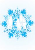 White contours of penguins in the snowflake. The illustration on white background poster