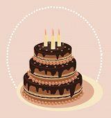 Chocolate tiered cake. Cake with candles. Vector card. Festive cakes. Kiev cake. wedding cake, vanilla cake, celebration congratulations poster
