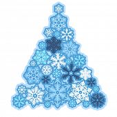 Stylized Christmas tree made of various snowflakes poster