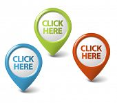 Vector Round 3D click here pointer - button (call to action) poster