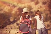 Summer camp adventures, two little girls best friends enjoying mountains hike, schoolchildren on outdoor tour, happy summer holidays in the camp poster