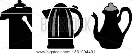Kettle Icon On White Background Teapot, Teatime, Thermal.