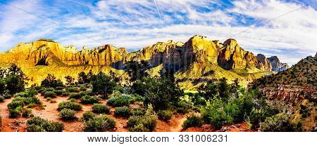 Panorama View Of Sunrise Over Mt. Kinesava And The West Temple In Zion National Park In Utah, Usa, D