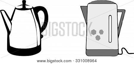Kettle Icon On White Background  Symbol, Tea, Teapot, Teatime, Thermal.