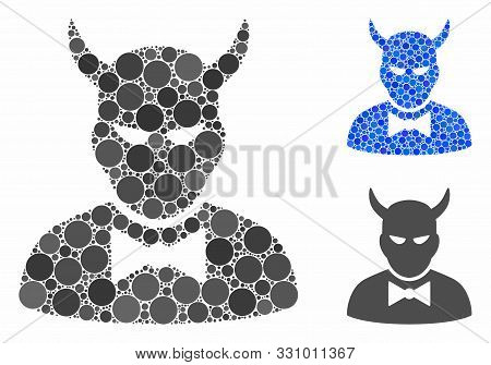 Devil Composition Of Spheric Dots In Various Sizes And Color Tones, Based On Devil Icon. Vector Rand
