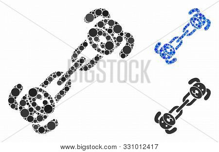 Puppy Chain Mosaic Of Circle Elements In Various Sizes And Shades, Based On Puppy Chain Icon. Vector