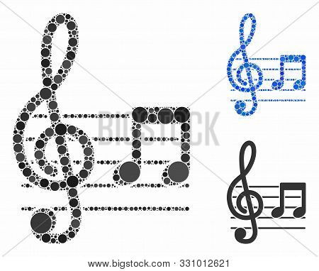 Musical Notation Mosaic Of Round Dots In Different Sizes And Shades, Based On Musical Notation Icon.