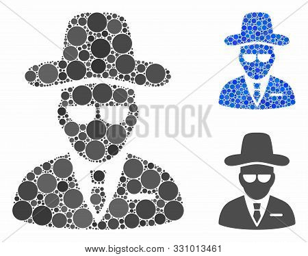 Agent Mosaic Of Filled Circles In Various Sizes And Color Hues, Based On Agent Icon. Vector Filled C