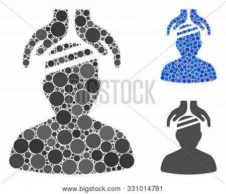 Psychiatry Patient Cure Hands Mosaic Of Filled Circles In Different Sizes And Color Tinges, Based On