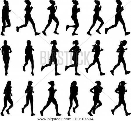 18 high quality female marathon runners silhouettes
