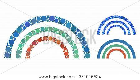 Color Arc Mosaic Of Round Dots In Different Sizes And Color Tones, Based On Color Arc Icon. Vector R