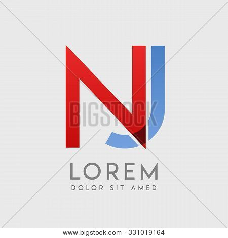 Nj Logo Letters With Blue And Red Gradation