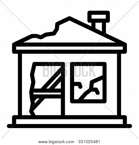 Destroyed Home Icon. Outline Destroyed Home Vector Icon For Web Design Isolated On White Background