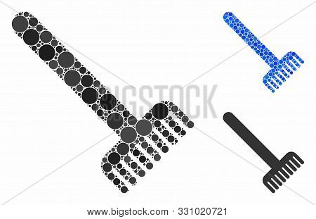 Broom Composition Of Circle Elements In Various Sizes And Shades, Based On Broom Icon. Vector Round
