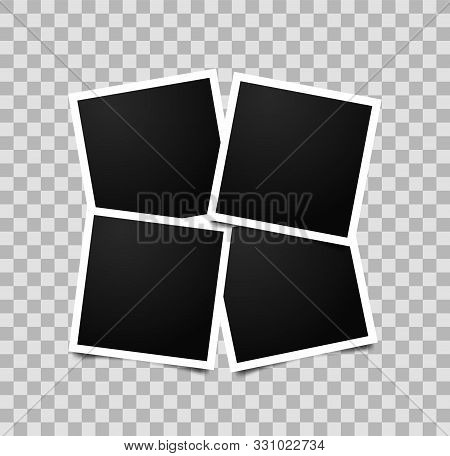 Collage Of Four Empty Photo Frames. Vector Photorealistic Mockup Isolated On Transparent Background.