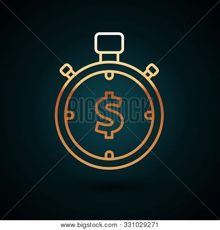 Gold Line Time Is Money Icon Isolated On Dark Blue Background. Money Is Time. Effective Time Managem