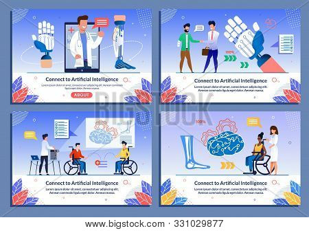 Bionic Body Parts For Disabled Flat Banner Set. Cartoon People With Injure Need Help. Specialist Off