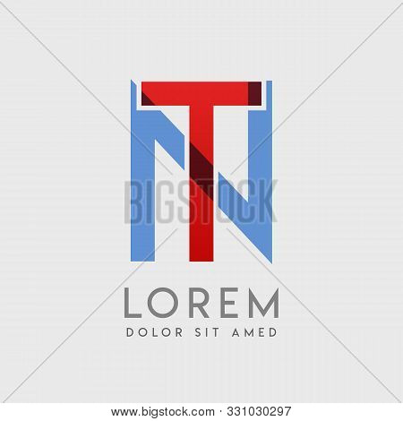 Tn Logo Letters With Blue And Red Gradation