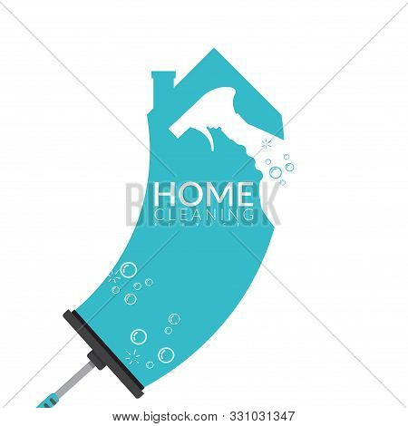 Vector Of Squeegee Scraping On House Shape In Blue Color With Spray Bottle And Bubble Foam Overlay O