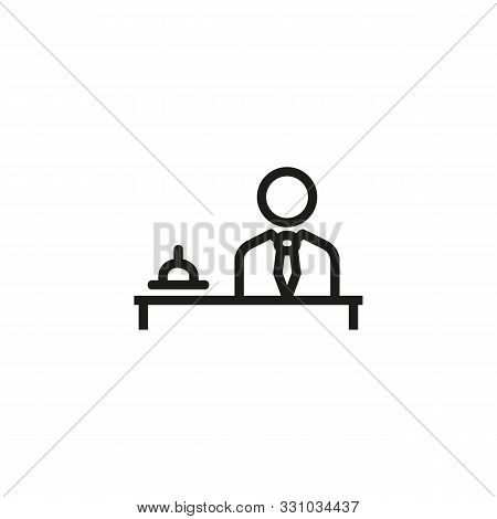 Hotel Manager Line Icon. Guest Relation Manager, Service, Staff. Hotel Concept. Vector Illustration