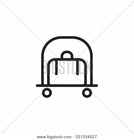 Hotel Service Line Icon. Suitcase, Luggage Cart, Baggage. Hotel Concept. Vector Illustration Can Be