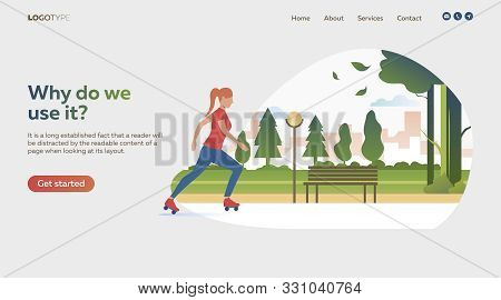 Woman Rollerskating In Park. Sport, Leisure, Active Lifestyle Flat Vector Illustration. Outdoor Acti